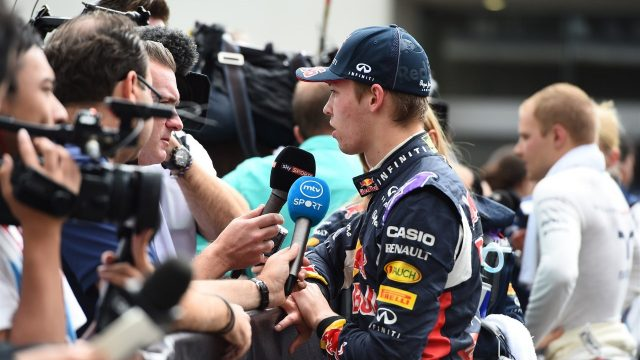 Daniil Kyvat (RUS) Red Bull Racing talks to the press at Formula One World Championship, Rd17, Mexican Grand Prix, Qualifying, Circuit Hermanos Rodriguez, Mexico City, Mexico, Saturday 31 October 2015. &copy&#x3b; Sutton Motorsport Images