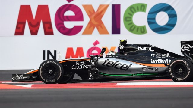Sergio Perez (MEX) Force India VJM08 celebrates at the end of the race at Formula One World Championship, Rd17, Mexican Grand Prix, Race, Circuit Hermanos Rodriguez, Mexico City, Mexico, Sunday 1  November 2015. &copy&#x3b; Sutton Motorsport Images