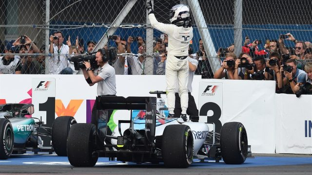 Valtteri Bottas (FIN) Williams FW37 celebrates in parc ferme at Formula One World Championship, Rd17, Mexican Grand Prix, Race, Circuit Hermanos Rodriguez, Mexico City, Mexico, Sunday 1  November 2015. &copy&#x3b; Sutton Motorsport Images