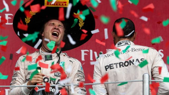 Race winner Nico Rosberg (GER) Mercedes AMG F1 celebrates on the podium with Lewis Hamilton (GBR) Mercedes AMG F1 at Formula One World Championship, Rd17, Mexican Grand Prix, Race, Circuit Hermanos Rodriguez, Mexico City, Mexico, Sunday 1  November 2015. &copy&#x3b; Sutton Motorsport Images