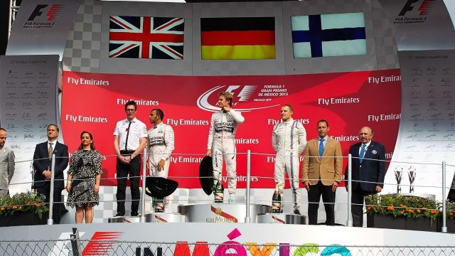 (L to R): Andy Shovlin (GBR) Mercedes AMG F1 Chief Engineer, Lewis Hamilton (GBR) Mercedes AMG F1, race winner Nico Rosberg (GER) Mercedes AMG F1 and Valtteri Bottas (FIN) Williams celebrate on the podium at Formula One World Championship, Rd17, Mexican Grand Prix, Race, Circuit Hermanos Rodriguez, Mexico City, Mexico, Sunday 1  November 2015. &copy&#x3b; Sutton Motorsport Images