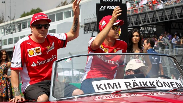 Kimi Raikkonen (FIN) Ferrari and Sebastian Vettel (GER) Ferrari at the drivers parade at Formula One World Championship, Rd17, Mexican Grand Prix, Race, Circuit Hermanos Rodriguez, Mexico City, Mexico, Sunday 1  November 2015. &copy&#x3b; Sutton Motorsport Images
