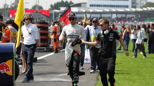 Sergio Perez (MEX) Force India on the grid at Formula One World Championship, Rd17, Mexican Grand Prix, Race, Circuit Hermanos Rodriguez, Mexico City, Mexico, Sunday 1  November 2015. &copy&#x3b; Sutton Motorsport Images
