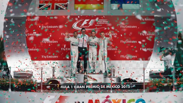 (L to R): Lewis Hamilton (GBR) Mercedes AMG F1, race winner Nico Rosberg (GER) Mercedes AMG F1 and Valtteri Bottas (FIN) Williams celebrate on the podium at Formula One World Championship, Rd17, Mexican Grand Prix, Race, Circuit Hermanos Rodriguez, Mexico City, Mexico, Sunday 1  November 2015. &copy&#x3b; Sutton Motorsport Images
