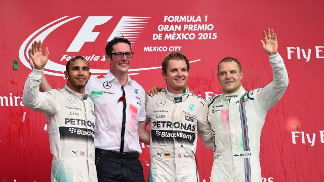 Lewis Hamilton (GBR) Mercedes AMG F1, Grand Prix Extra, race winner Nico Rosberg (GER) Mercedes AMG F1 and Valtteri Bottas (FIN) Williams celebrate on the podium at Formula One World Championship, Rd17, Mexican Grand Prix, Race, Circuit Hermanos Rodriguez, Mexico City, Mexico, Sunday 1  November 2015. &copy&#x3b; Sutton Motorsport Images
