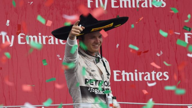 Race winner Nico Rosberg (GER) Mercedes AMG F1 celebrates on the podium with the champagne at Formula One World Championship, Rd17, Mexican Grand Prix, Race, Circuit Hermanos Rodriguez, Mexico City, Mexico, Sunday 1  November 2015. &copy&#x3b; Sutton Motorsport Images