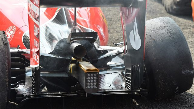 The damaged car of race retiree Kimi Raikkonen (FIN) Ferrari SF15-T at Formula One World Championship, Rd17, Mexican Grand Prix, Race, Circuit Hermanos Rodriguez, Mexico City, Mexico, Sunday 1  November 2015. &copy&#x3b; Sutton Motorsport Images