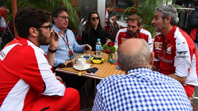 Maurizio Arrivabene (ITA) Ferrari Team Principal,Louis Camilleri, Chairman of Philip Morris and Ferrari personel meeting at Formula One World Championship, Rd17, Mexican Grand Prix, Race, Circuit Hermanos Rodriguez, Mexico City, Mexico, Sunday 1  November 2015. &copy&#x3b; Sutton Motorsport Images