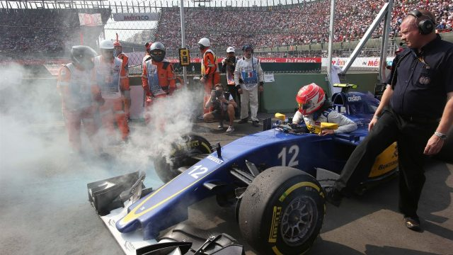 Felipe Nasr (BRA) Sauber C34 retires after spinning out of the race at Formula One World Championship, Rd17, Mexican Grand Prix, Race, Circuit Hermanos Rodriguez, Mexico City, Mexico, Sunday 1  November 2015. &copy&#x3b; Sutton Motorsport Images