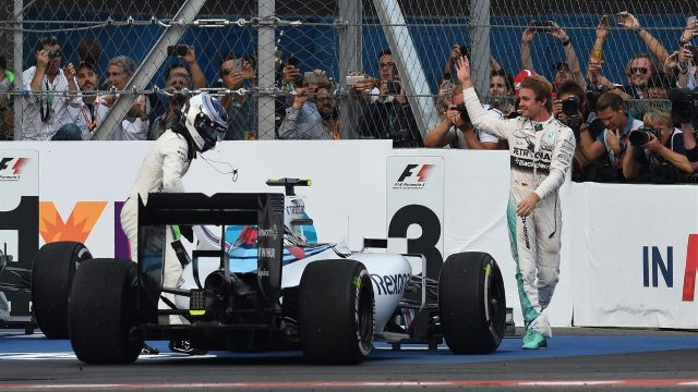 Race winner Nico Rosberg (GER) Mercedes AMG F1 and Valtteri Bottas (FIN) Williams FW37 celebrate in parc ferme at Formula One World Championship, Rd17, Mexican Grand Prix, Race, Circuit Hermanos Rodriguez, Mexico City, Mexico, Sunday 1  November 2015. &copy&#x3b; Sutton Motorsport Images