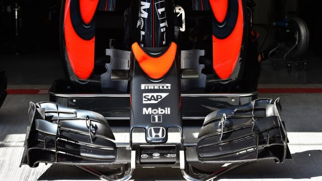 Mclaren MP4-30 nose and front wing at Formula One World Championship, Rd15, Russian Grand Prix, Preparations, Sochi Autodrom, Sochi, Krasnodar Krai, Russia, Thursday 8 October 2015. &copy&#x3b; Sutton Motorsport Images