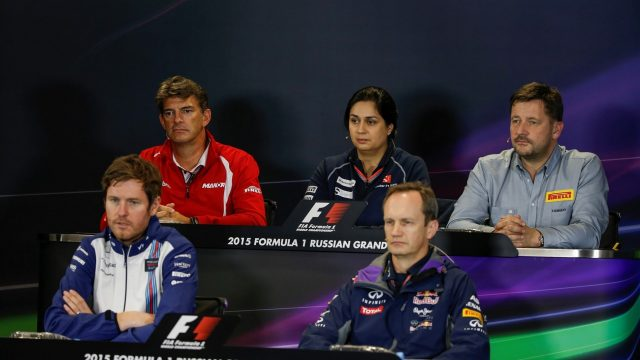 (L to R): Graeme Lowdon (GBR) Chief Executive Officer Manor GP, Monisha Kaltenborn (AUT) Sauber Team Prinicpal, Paul Hembery (GBR) Pirelli Motorsport Director, Rob Smedley (GBR) Williams Head of Vehicle Performance and Paul Monaghan (GBR) Red Bull Racing Chief Engineer in the Press Conference at Formula One World Championship, Rd15, Russian Grand Prix, Practice, Sochi Autodrom, Sochi, Krasnodar Krai, Russia, Friday 9 October 2015. &copy&#x3b; Sutton Motorsport Images