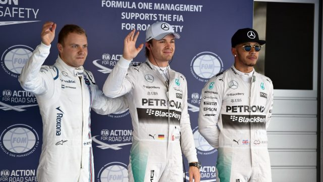 (L to R): Valtteri Bottas (FIN) Williams, Pole sitter Nico Rosberg (GER) Mercedes AMG F1 and Lewis Hamilton (GBR) Mercedes AMG F1 celebrate in parc ferme at Formula One World Championship, Rd15, Russian Grand Prix, Qualifying, Sochi Autodrom, Sochi, Krasnodar Krai, Russia, Saturday 10 October 2015. &copy&#x3b; Sutton Motorsport Images