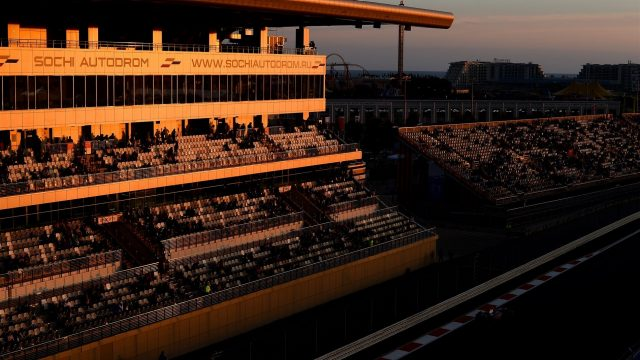 Sunset over the track at Formula One World Championship, Rd15, Russian Grand Prix, Qualifying, Sochi Autodrom, Sochi, Krasnodar Krai, Russia, Saturday 10 October 2015. &copy&#x3b; Sutton Motorsport Images
