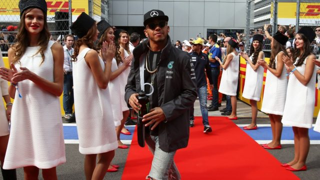 Lewis Hamilton (GBR) Mercedes AMG F1 at the drivers parade at Formula One World Championship, Rd15, Russian Grand Prix, Race, Sochi Autodrom, Sochi, Krasnodar Krai, Russia, Sunday 11 October 2015. &copy&#x3b; Sutton Motorsport Images