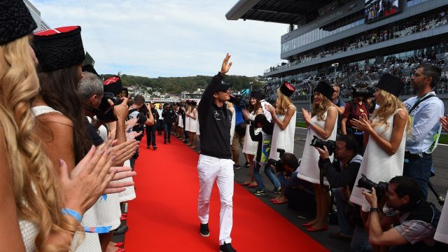 Nico Rosberg (GER) Mercedes AMG F1 on the driver parade  at Formula One World Championship, Rd15, Russian Grand Prix, Race, Sochi Autodrom, Sochi, Krasnodar Krai, Russia, Sunday 11 October 2015. &copy&#x3b; Sutton Motorsport Images