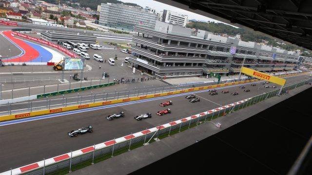 Nico Rosberg (GER) Mercedes AMG F1 W06 leads at the start of the race at Formula One World Championship, Rd15, Russian Grand Prix, Race, Sochi Autodrom, Sochi, Krasnodar Krai, Russia, Sunday 11 October 2015. &copy&#x3b; Sutton Motorsport Images