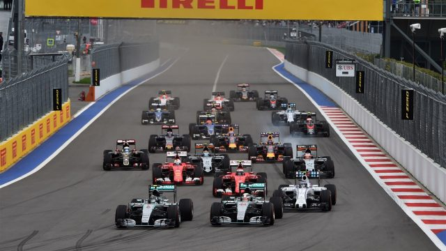 Nico Rosberg (GER) Mercedes AMG F1 W06 leads Lewis Hamilton (GBR) Mercedes AMG F1 W06 at the start of the race at Formula One World Championship, Rd15, Russian Grand Prix, Race, Sochi Autodrom, Sochi, Krasnodar Krai, Russia, Sunday 11 October 2015. &copy&#x3b; Sutton Motorsport Images