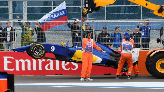 The car of Marcus Ericsson (SWE) Sauber C34 is recovered one at Formula One World Championship, Rd15, Russian Grand Prix, Race, Sochi Autodrom, Sochi, Krasnodar Krai, Russia, Sunday 11 October 2015. &copy&#x3b; Sutton Motorsport Images