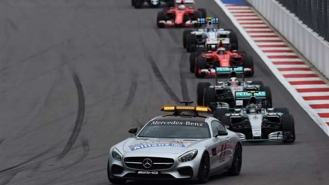 Safety car leads the field at Formula One World Championship, Rd15, Russian Grand Prix, Race, Sochi Autodrom, Sochi, Krasnodar Krai, Russia, Sunday 11 October 2015. &copy&#x3b; Sutton Motorsport Images