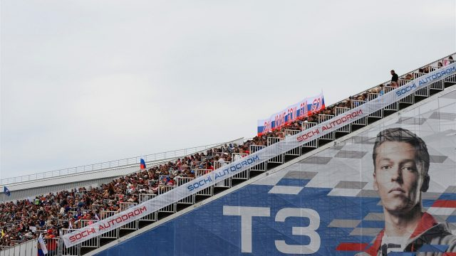 Fans and Daniil Kyvat (RUS) Red Bull Racing signage on the grandstand at Formula One World Championship, Rd15, Russian Grand Prix, Race, Sochi Autodrom, Sochi, Krasnodar Krai, Russia, Sunday 11 October 2015. &copy&#x3b; Sutton Motorsport Images