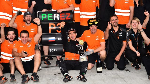 Third placed Sergio Perez (MEX) Force India celebrates with the team at Formula One World Championship, Rd15, Russian Grand Prix, Race, Sochi Autodrom, Sochi, Krasnodar Krai, Russia, Sunday 11 October 2015. &copy&#x3b; Sutton Motorsport Images
