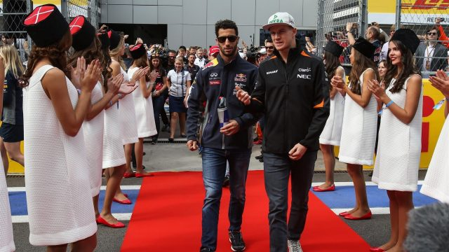 Daniel Ricciardo (AUS) Red Bull Racing and Nico Hulkenberg (GER) Force India F1 at the drivers parade at Formula One World Championship, Rd15, Russian Grand Prix, Race, Sochi Autodrom, Sochi, Krasnodar Krai, Russia, Sunday 11 October 2015. &copy&#x3b; Sutton Motorsport Images