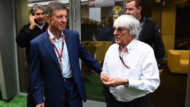 Dmitry Kozak (RUS) Deputy Prime Minister of the Russian Federation and Bernie Ecclestone (GBR) CEO Formula One Group (FOM) at Formula One World Championship, Rd15, Russian Grand Prix, Practice, Sochi Autodrom, Sochi, Krasnodar Krai, Russia, Friday 9 October 2015. &copy&#x3b; Sutton Motorsport Images
