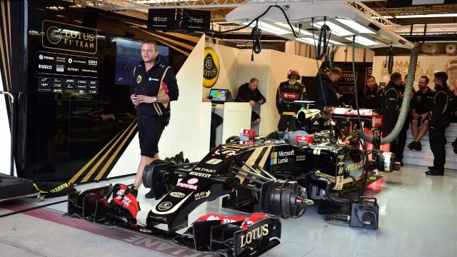 The car of Romain Grosjean (FRA) Lotus E23 Hybrid in the garage at Formula One World Championship, Rd16, United States  Grand Prix, Qualifying, Austin, Texas, USA, Saturday 24 October 2015. &copy&#x3b; Sutton Motorsport Images