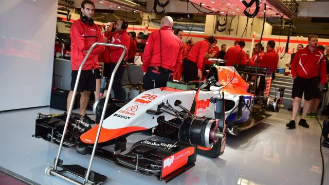 The car of Alexander Rossi (USA) Marussia in the garage at Formula One World Championship, Rd16, United States  Grand Prix, Qualifying, Austin, Texas, USA, Saturday 24 October 2015. &copy&#x3b; Sutton Motorsport Images