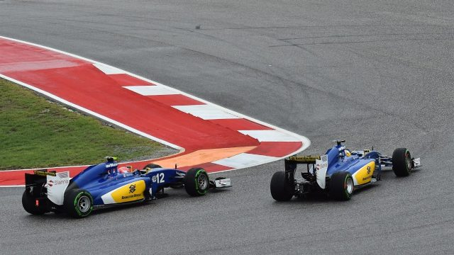 Felipe Nasr (BRA) Sauber C34 and Marcus Ericsson (SWE) Sauber C34 at Formula One World Championship, Rd16, United States  Grand Prix, Race, Austin, Texas, USA, Sunday 25 October 2015. &copy&#x3b; Sutton Motorsport Images