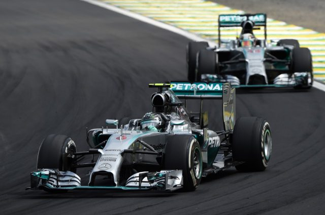 Nico Rosberg (GER) Mercedes AMG F1 W05 leads Lewis Hamilton (GBR) Mercedes AMG F1 W05. Formula One World Championship, Rd18, Brazilian Grand Prix, Race, Sao Paulo, Brazil, Sunday 9 November 2014. &copy&#x3b; Sutton Motorsport Images
