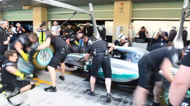 Mercedes AMG F1 practice pit stops at Formula One World Championship, Rd19, Abu Dhabi Grand Prix, Preparations, Yas Marina Circuit, Abu Dhabi, UAE, Thursday 26 November 2015. &copy&#x3b; Sutton Motorsport Images