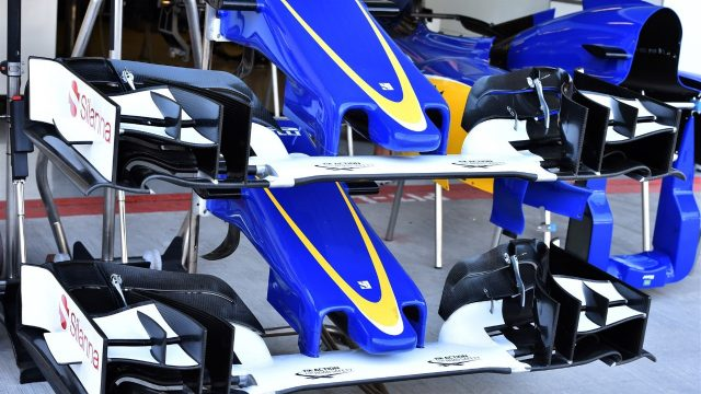 Sauber C34 nose and front wings at Formula One World Championship, Rd19, Abu Dhabi Grand Prix, Preparations, Yas Marina Circuit, Abu Dhabi, UAE, Thursday 26 November 2015. &copy&#x3b; Sutton Motorsport Images