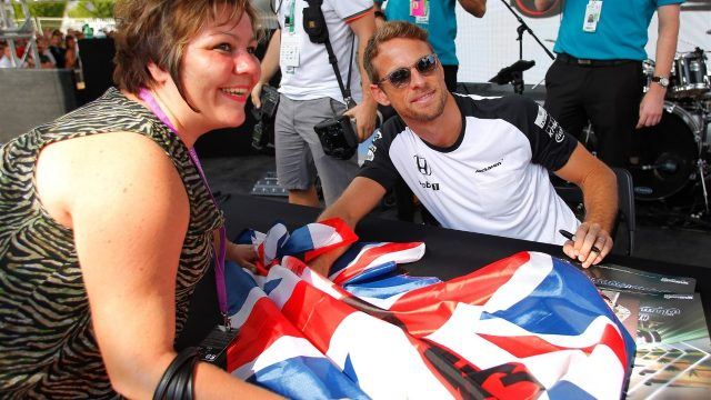 Jenson Button (GBR) McLaren at the autograph session at Formula One World Championship, Rd19, Abu Dhabi Grand Prix, Qualifying, Yas Marina Circuit, Abu Dhabi, UAE, Saturday 28 November 2015. &copy&#x3b; Sutton Motorsport Images