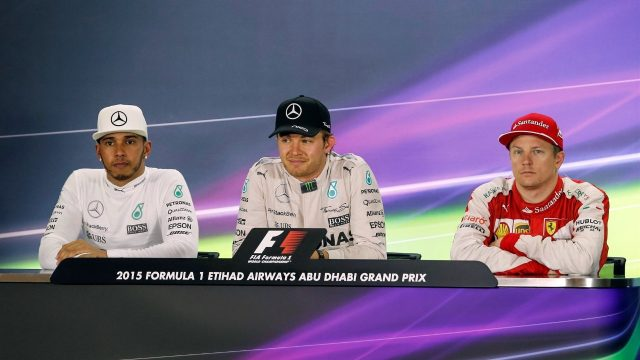 (L to R): Lewis Hamilton (GBR) Mercedes AMG F1, Nico Rosberg (GER) Mercedes AMG F1 and Kimi Raikkonen (FIN) Ferrari in the press conference at Formula One World Championship, Rd19, Abu Dhabi Grand Prix, Race, Yas Marina Circuit, Abu Dhabi, UAE, Sunday 29 November 2015. &copy&#x3b; Sutton Motorsport Images