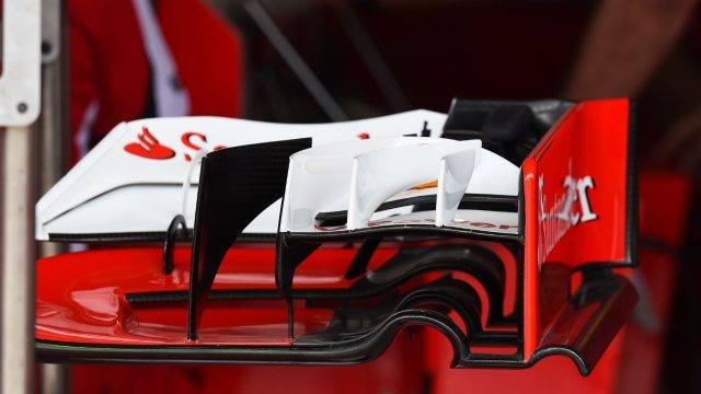 Ferrari SF15-T front wing detail at Formula One World Championship, Rd18, Brazilian Grand Prix, Preparations, Interlagos, Sao Paulo, Brazil, Thursday 12 November 2015. &copy&#x3b; Sutton Motorsport Images