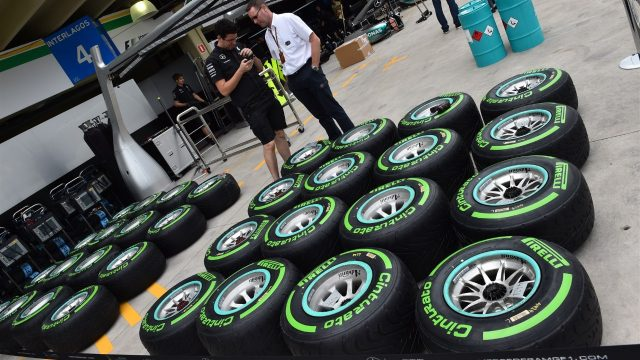 Mercedes AMG F1 Pirelli tyres at Formula One World Championship, Rd18, Brazilian Grand Prix, Preparations, Interlagos, Sao Paulo, Brazil, Thursday 12 November 2015. &copy&#x3b; Sutton Motorsport Images
