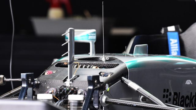 Mercedes AMG F1 W06 chassis detail at Formula One World Championship, Rd18, Brazilian Grand Prix, Preparations, Interlagos, Sao Paulo, Brazil, Thursday 12 November 2015. &copy&#x3b; Sutton Motorsport Images