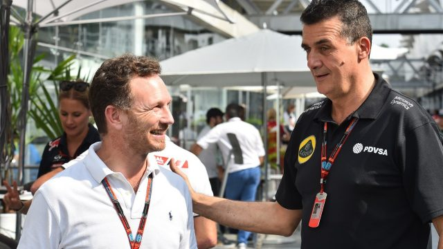 Christian Horner (GBR) Red Bull Racing Team Principal and Federico Gastaldi (ARG) Lotus F1 Team Deputy Team Principal at Formula One World Championship, Rd18, Brazilian Grand Prix, Preparations, Interlagos, Sao Paulo, Brazil, Thursday 12 November 2015. &copy&#x3b; Sutton Motorsport Images