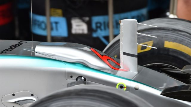 Mercedes AMG F1 W06 nose detail at Formula One World Championship, Rd18, Brazilian Grand Prix, Preparations, Interlagos, Sao Paulo, Brazil, Thursday 12 November 2015. &copy&#x3b; Sutton Motorsport Images