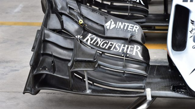 Force India VJM08 front wing detail at Formula One World Championship, Rd18, Brazilian Grand Prix, Preparations, Interlagos, Sao Paulo, Brazil, Thursday 12 November 2015. &copy&#x3b; Sutton Motorsport Images