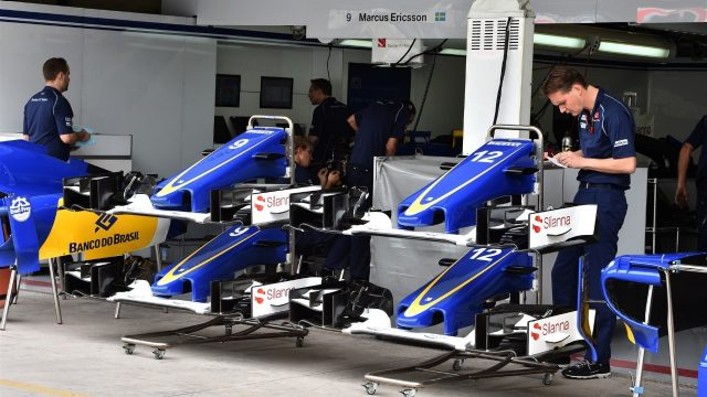 Sauber C34 nose and front wings at Formula One World Championship, Rd18, Brazilian Grand Prix, Preparations, Interlagos, Sao Paulo, Brazil, Thursday 12 November 2015. &copy&#x3b; Sutton Motorsport Images