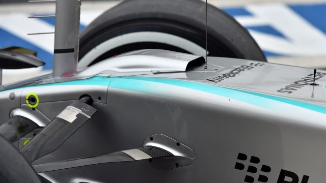 Mercedes AMG F1 W06 nose and S-duct detail at Formula One World Championship, Rd18, Brazilian Grand Prix, Practice, Interlagos, Sao Paulo, Brazil, Friday 13 November 2015. &copy&#x3b; Sutton Motorsport Images