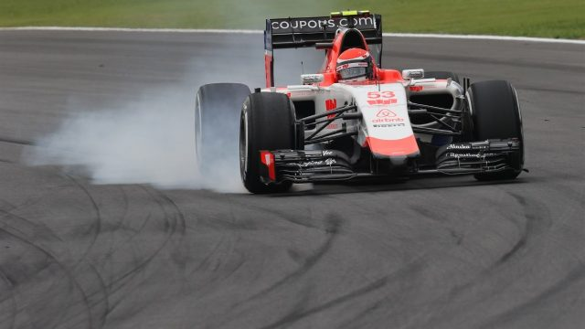 Alexander Rossi (USA) Marussia locks up at Formula One World Championship, Rd18, Brazilian Grand Prix, Practice, Interlagos, Sao Paulo, Brazil, Friday 13 November 2015. &copy&#x3b; Sutton Motorsport Images