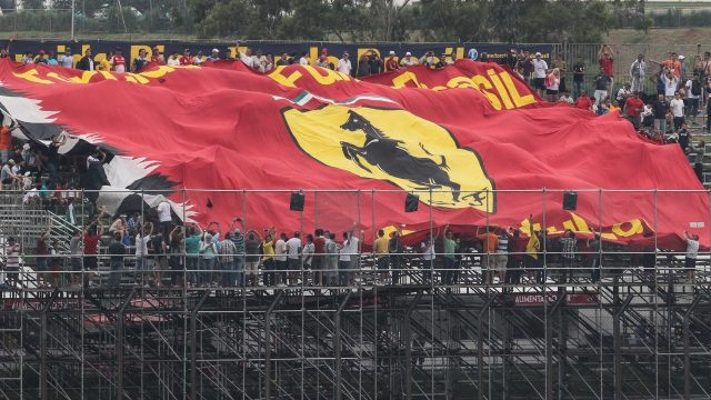 Ferrari Fans and Flag at Formula One World Championship, Rd18, Brazilian Grand Prix, Practice, Interlagos, Sao Paulo, Brazil, Friday 13 November 2015. &copy&#x3b; Sutton Motorsport Images