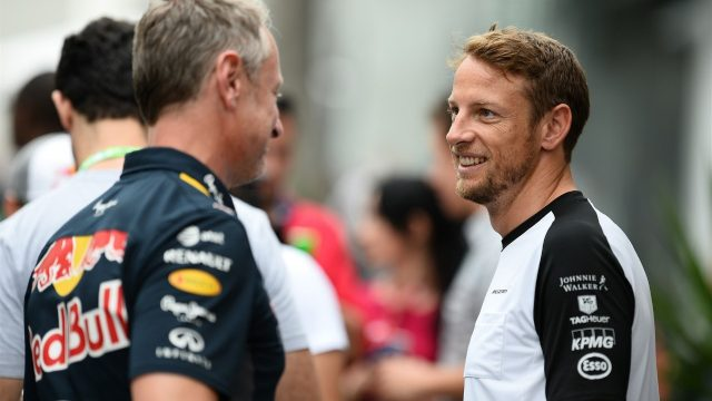 Jonathan Wheatley (GBR) Red Bull Racing Team Manager and Jenson Button (GBR) McLaren at Formula One World Championship, Rd18, Brazilian Grand Prix, Practice, Interlagos, Sao Paulo, Brazil, Friday 13 November 2015. &copy&#x3b; Sutton Motorsport Images