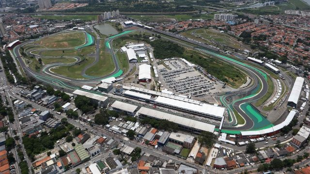 Aerial view at Formula One World Championship, Rd18, Brazilian Grand Prix, Qualifying, Interlagos, Sao Paulo, Brazil, Saturday 14 November 2015. &copy&#x3b; Sutton Motorsport Images