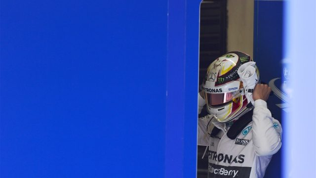 Lewis Hamilton (GBR) Mercedes AMG F1 in parc ferme at Formula One World Championship, Rd18, Brazilian Grand Prix, Qualifying, Interlagos, Sao Paulo, Brazil, Saturday 14 November 2015. &copy&#x3b; Sutton Motorsport Images