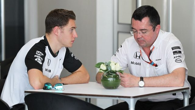Stoffel Vandoorne (BEL) McLaren and Eric Boullier (FRA) McLaren Racing Director at Formula One World Championship, Rd18, Brazilian Grand Prix, Qualifying, Interlagos, Sao Paulo, Brazil, Saturday 14 November 2015. &copy&#x3b; Sutton Motorsport Images